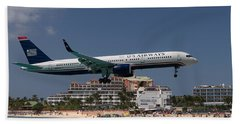 U S Airways At St Maarten Beach Towel by David Gleeson