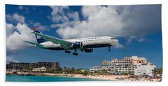 U S Airways Landing At St. Maarten Beach Towel by David Gleeson