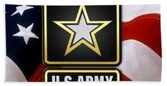 U. S. Army Logo Over American Flag. Beach Towel