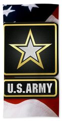 U. S. Army Logo Over American Flag. Beach Towel by Serge Averbukh