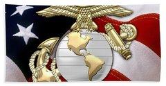 U. S. Marine Corps - U S M C Eagle Globe And Anchor Over American Flag. Beach Towel