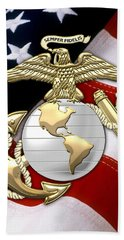 U. S. Marine Corps - U S M C Eagle Globe And Anchor Over American Flag. Beach Towel by Serge Averbukh