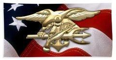 U. S. Navy S E A Ls Emblem Over American Flag Beach Towel