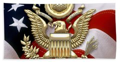 U. S. A. Great Seal In Gold Over American Flag  Beach Sheet