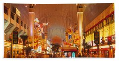 Usa, Nevada, Las Vegas, Night Beach Towel