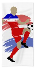 Usa Soccer Player Beach Towel