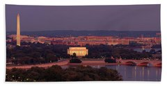 Usa, Washington Dc, Aerial, Night Beach Towel