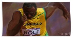 Beach Towel featuring the painting Usain Bolt 2012 Olympics by Vannetta Ferguson