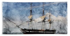 Uss Constitution On Canvas - Featured In 'manufactured Objects' Group Beach Towel