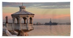 Uss Lexington At Sunrise Beach Towel