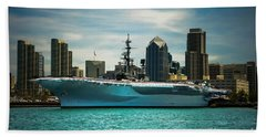 Uss Midway Museum Cv 41 Aircraft Carrier Beach Towel by Claudia Ellis