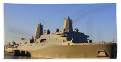 Uss New York - Lpd21 Beach Sheet by Dora Sofia Caputo Photographic Art and Design