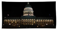 Beach Towel featuring the photograph Utah State Capitol Front by David Andersen