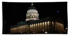 Beach Towel featuring the photograph Utah State Capitol East by David Andersen