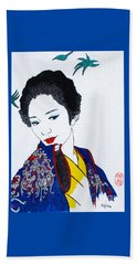 Beach Towel featuring the painting Utsukushi Geisha 2 by Roberto Prusso