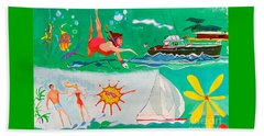 Beach Towel featuring the painting Vacation All I Ever Wanted by Beth Saffer