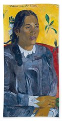 Vahine No Te Tiare Woman With A Flower, 1891 Oil On Canvas Beach Towel