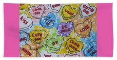 Valentine Candy Hearts Beach Sheet by Kathy Marrs Chandler