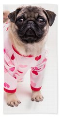 Valentine's Day - Adorable Pug Puppy In Pajamas Beach Towel