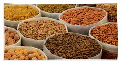 Variety Of Raw Nuts For Sale At Outdoor Street Market Karachi Pakistan Beach Towel