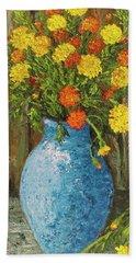 Vase Of Marigolds Beach Towel