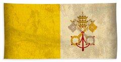 Vatican City Flag Vintage Distressed Finish Beach Towel