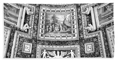 Vatican Museum Gallery Of Maps Black And White Beach Towel