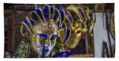 Venetian Carnival Masks Cadiz Spain Beach Sheet