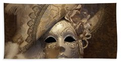 Beach Towel featuring the photograph Venetian Face Mask F by Heiko Koehrer-Wagner