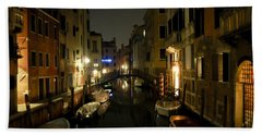 Beach Towel featuring the photograph Venice At Night by Silvia Bruno