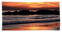 Venice Beach Breaker Orange Yellow Sunset Beach Towel by Tom Wurl
