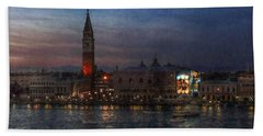 Beach Towel featuring the photograph Venice By Night by Hanny Heim