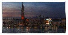 Venice By Night Beach Towel by Hanny Heim