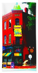 Venice Cafe' Painted And Edited Beach Towel