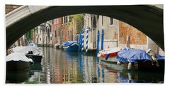 Beach Towel featuring the photograph Venice Canal Boat by Silvia Bruno
