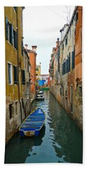 Beach Towel featuring the photograph Venice Canal by Silvia Bruno