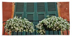 Beach Sheet featuring the photograph Venice Flower Balcony 2 by Allen Beatty