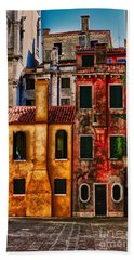 Beach Towel featuring the photograph Venice Homes by Jerry Fornarotto