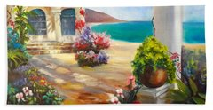 Beach Towel featuring the painting Venice Villa by Jenny Lee