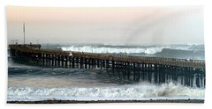 Ventura Storm Pier Beach Towel by Henrik Lehnerer