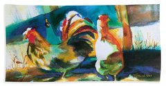 Beach Towel featuring the painting Veridian Chicken by Kathy Braud