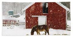 Vermont Christmas Eve Snowstorm Beach Towel