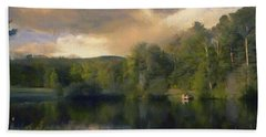 Beach Towel featuring the painting Vermont Morning Reflection by Jeff Kolker