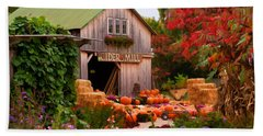 Vermont Pumpkins And Autumn Flowers Beach Towel by Jeff Folger