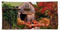 Vermont Pumpkins And Autumn Flowers Beach Towel