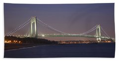 Verrazano Narrows Bridge At Night Beach Sheet