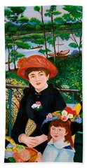Version Of Renoir's Two Sisters On The Terrace Beach Towel