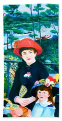 Version Of Renoir's Two Sisters On The Terrace Beach Sheet by Lorna Maza