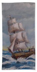 Vessel In The Sea Beach Towel