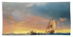 Vessels In A Swell At Sunset  Beach Towel
